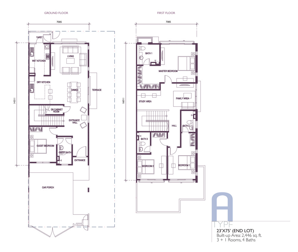 Wisteria A End Lot Floor Plan